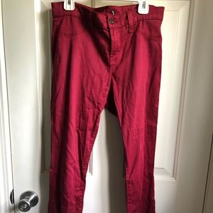 Denim - Cranberry red jeggings with back pockets